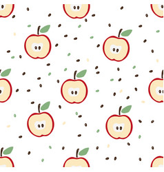 Seamless pattern halves a red apple vector