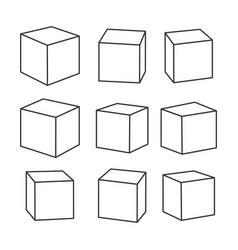 Set blank outline toy bricks vector