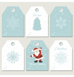 set christmas gift tags with snowflakes in retro vector image