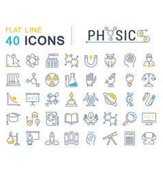set flat line icons physic vector image