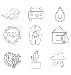 Set of 9 eco icon black outline on white vector