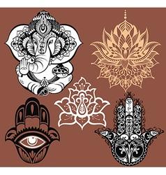 Set of yoga elements vector