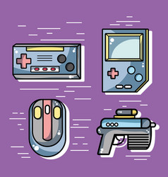 Set videogame technology activity to recreation vector