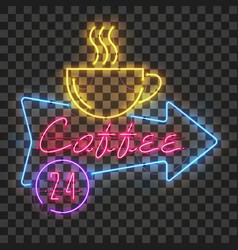 Shining and glowing neon coffee sign in arrow vector