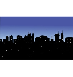 Silhouette of the city with twinkling lights vector image