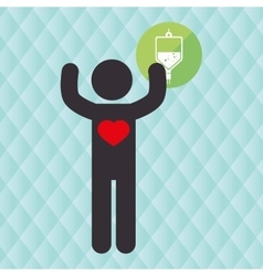 silhouette person heart lab vector image