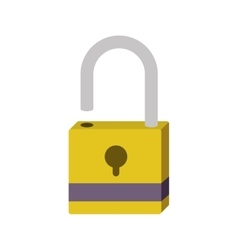 Silhouette with opened padlock yellow vector