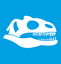 Skull of dinosaur icon white vector