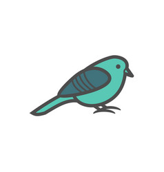 small bird colorful icon nature simple vector image