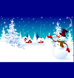 Snowman on a winter background greeting card vector