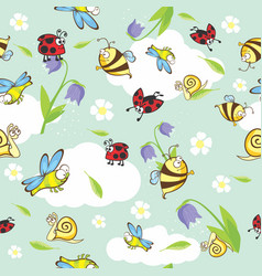 Spring funny cartoon insects seamless vector