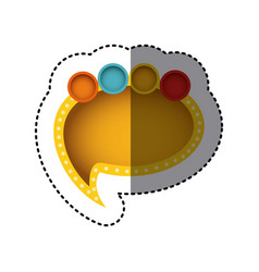 Sticker of yellow cloud speech with tail and vector