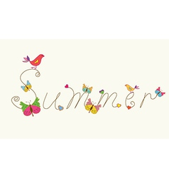 Summer banner word with bird and butteflies vector