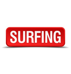 Surfing red 3d square button isolated on white vector