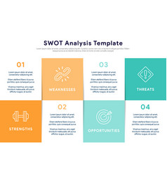 swot analysis template for strategic planning vector image