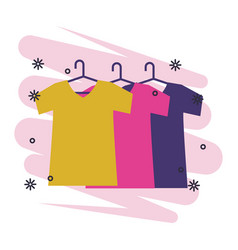 T shirts on hangers clothes cartoon vector