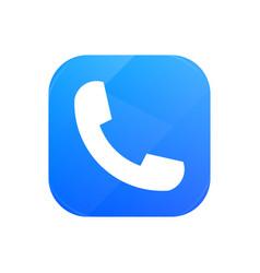 telephone symbol flat icon handset glossy icon vector image