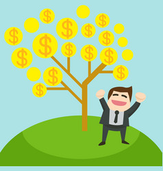 the glad businessman is standing under the tree vector image