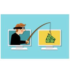 Thief steals money through a computer vector