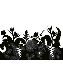 tropical leaves and flowers silhouette vector image