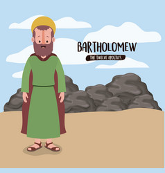Twelve apostles poster with bartholomew in vector
