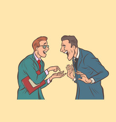 Two businessmen talking and laughing friends joke vector