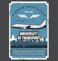 university air transport aviation school vector image