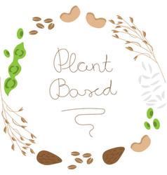 Vegan plant based logo vector