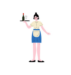 waitress with tray girl serving of drinks hotel vector image