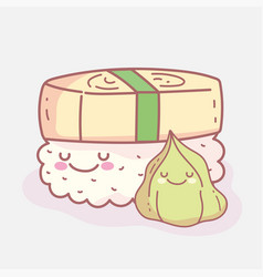 Wasabi and roll sushi cartoon food cute vector