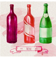 Watercolor artistic wine bottle vector image