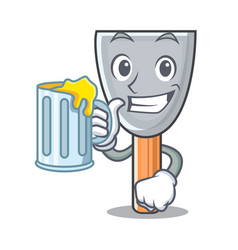 With juice cartoon putty knife in plaster vector