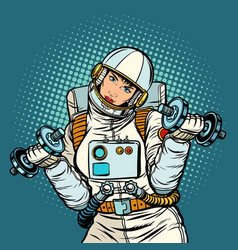 Woman astronaut with dumbbells vector