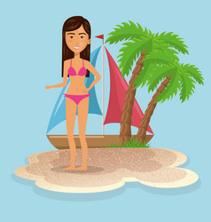 Woman character on the beach vector