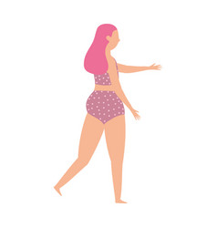 woman in swimsuit character cartoon isolated vector image