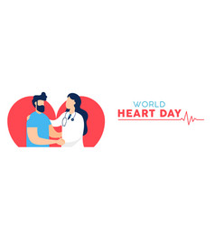 world heart day banner of doctor and patient vector image
