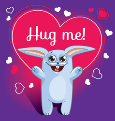 cartoon rabbit ready for a hugging vector image