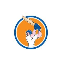 Cricket Player Batsman Batting Circle Cartoon vector image vector image