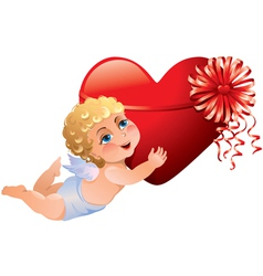Cupid brings heart vector image vector image