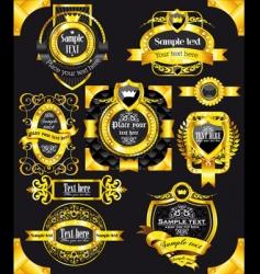golden vintage black labels vector image vector image