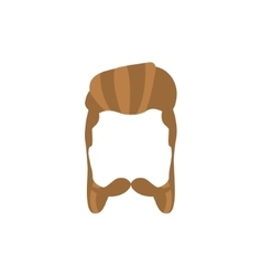 Hipster male hair and facial style with mutton vector