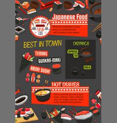 japanese restaurant banner with food and drink vector image vector image