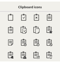 black Clipboard icons set vector image