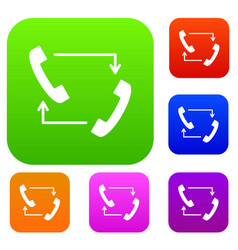 handsets with arrows set collection vector image vector image