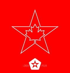 minimal monochrome vintage star with Canadian vector image