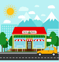 pizzeria in town colorful vector image vector image