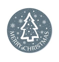 round christmas greeting with christmas tree grey vector image