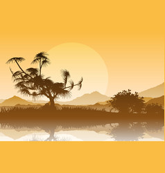 silhouette of trees against a sunset sky vector image vector image