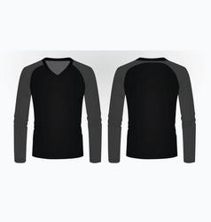 t shirt long sleeve v neck vector image vector image