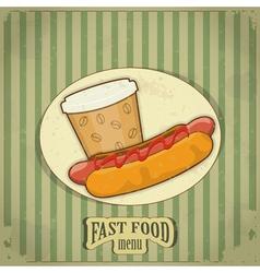 vintage fast food menu vector image vector image